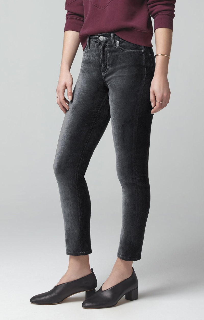 harlow ankle mid rise slim fit slate velour back