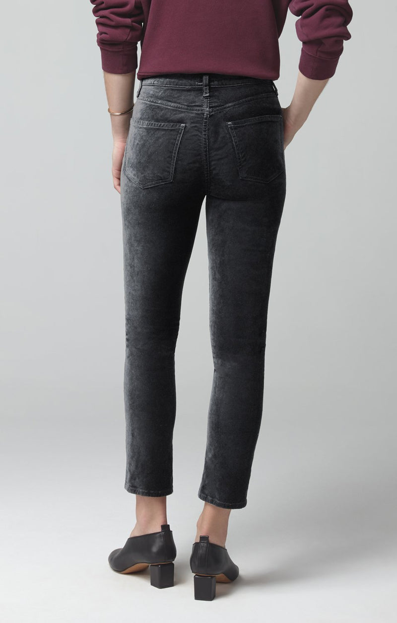 harlow ankle mid rise slim fit slate velour side