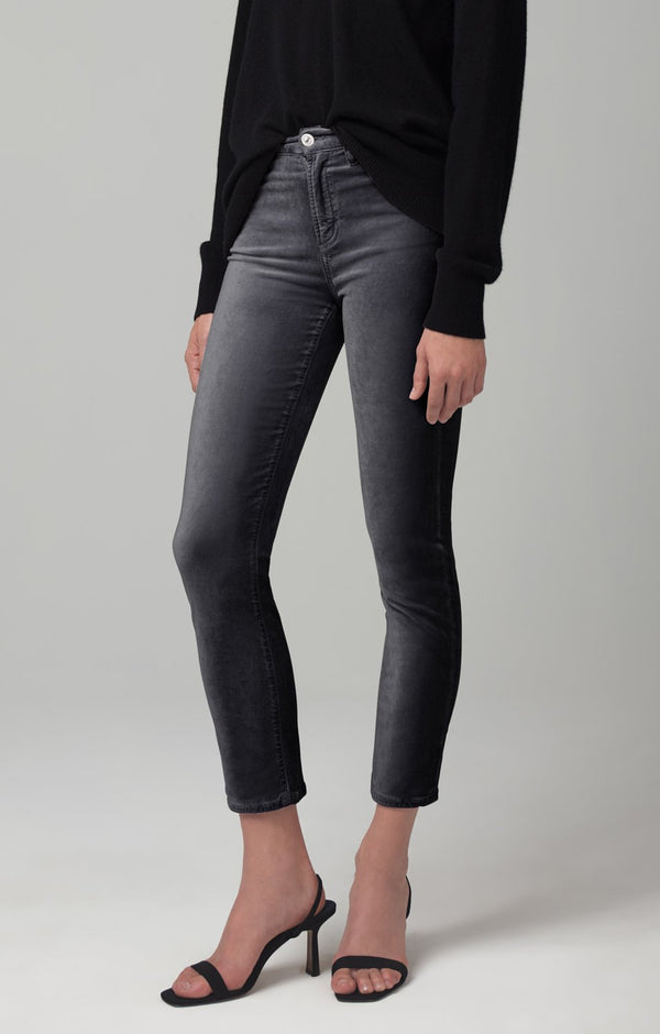 harlow ankle mid rise slim fit cosmic grey velour back