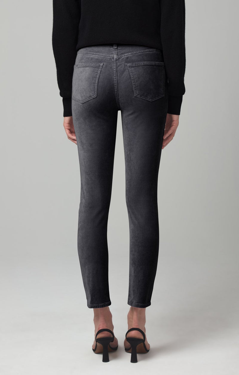 harlow ankle mid rise slim fit cosmic grey velour side