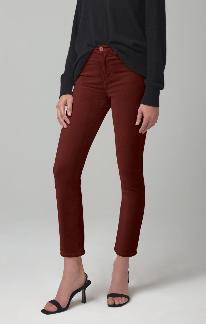 harlow ankle mid rise slim fit dark umber velour back