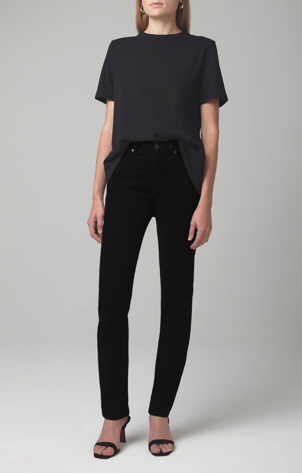 harlow ankle mid rise slim fit black corduroy front