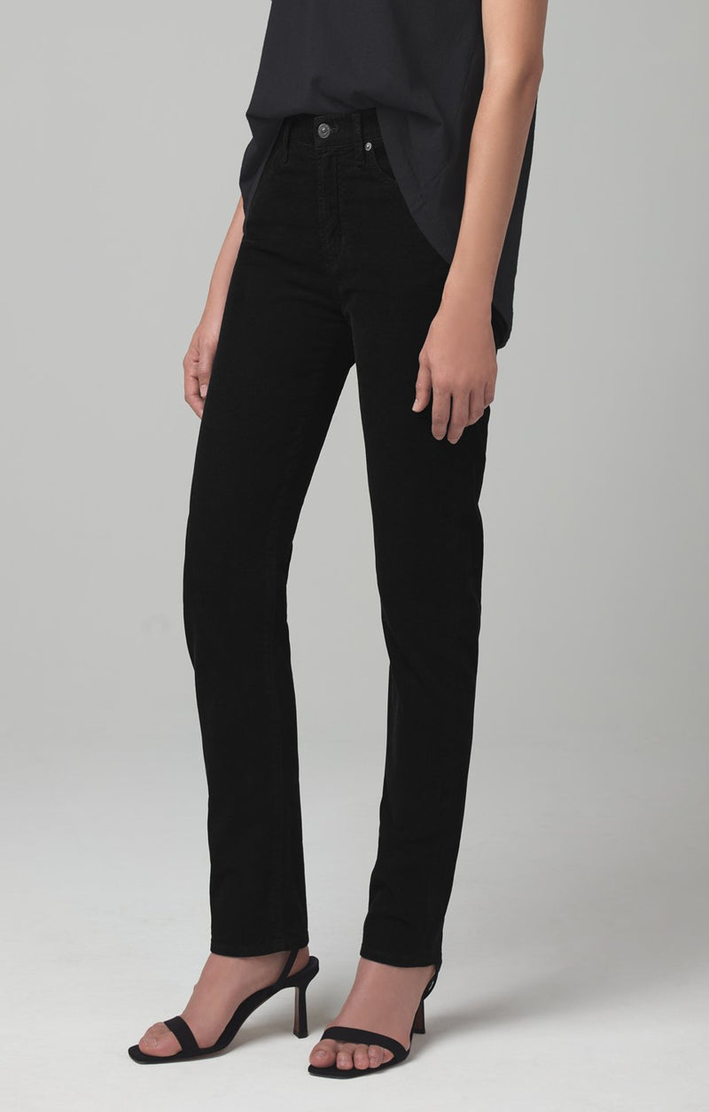 harlow ankle mid rise slim fit black corduroy back