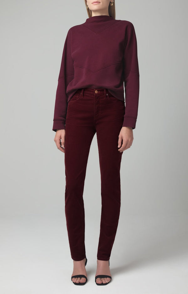 harlow ankle mid rise slim fit syrah corduroy front
