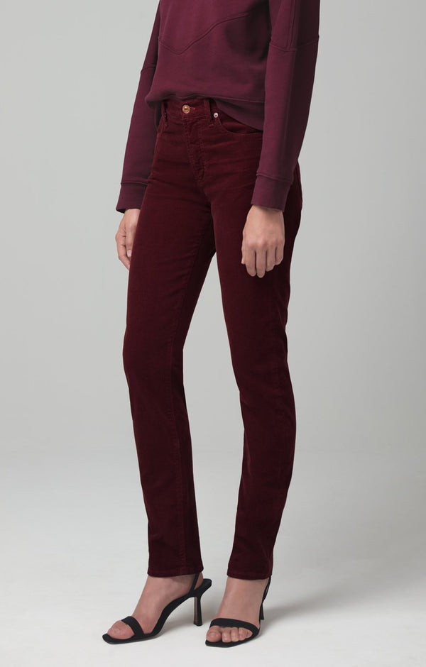 harlow ankle mid rise slim fit syrah corduroy back