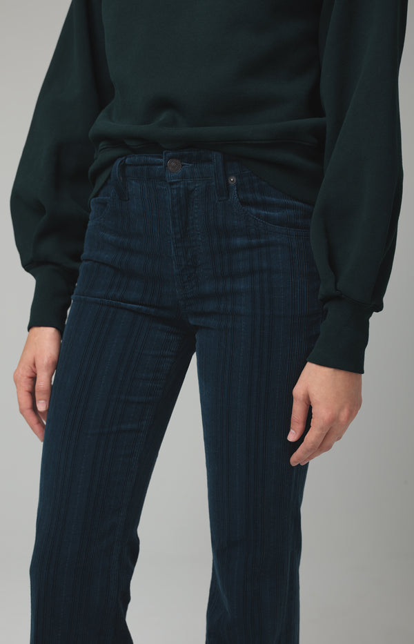 chloe flare midnight green corduroy back