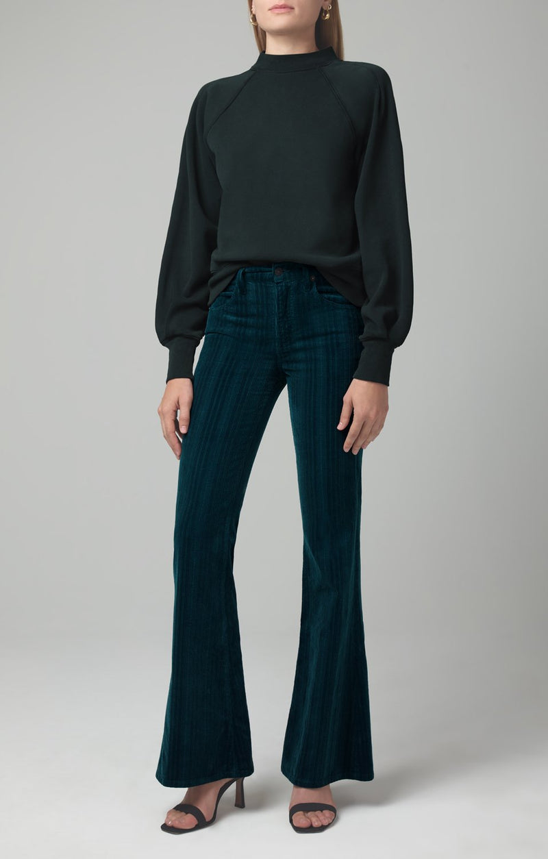 chloe flare midnight green corduroy front