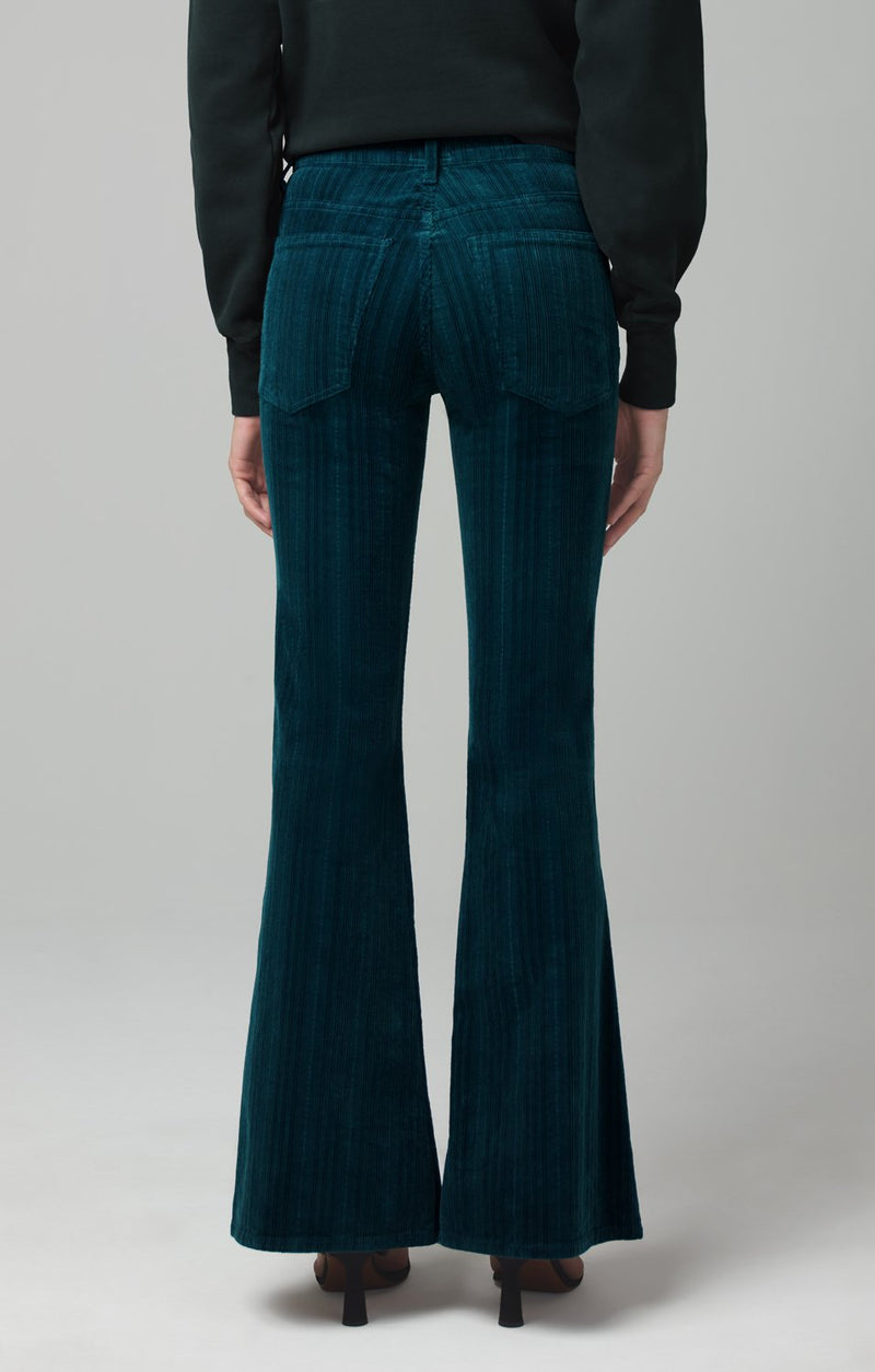 chloe flare midnight green corduroy detail