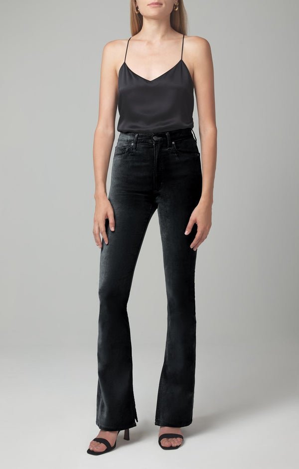georgia high rise bootcut black velour front