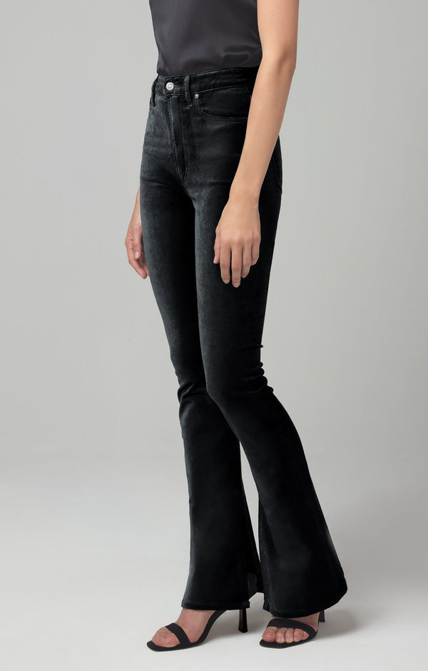 georgia high rise bootcut black velour back