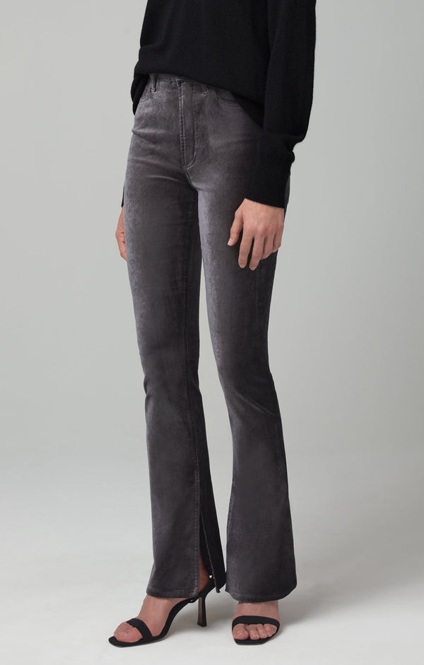 georgia high rise bootcut cosmic grey velour back