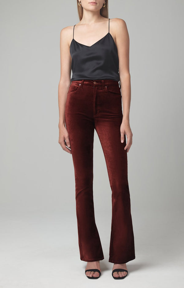 georgia high rise bootcut dark umber velour front