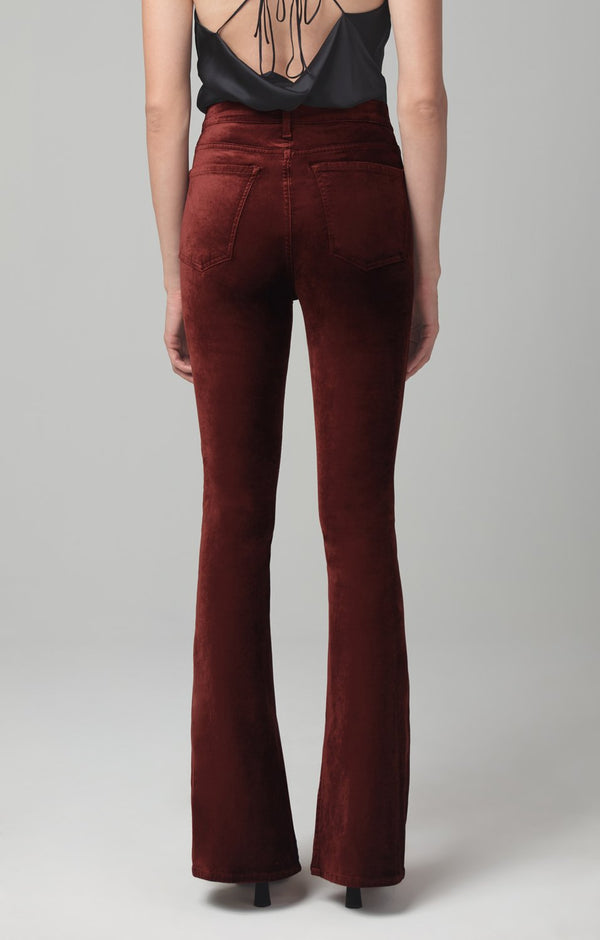 georgia high rise bootcut dark umber velour back
