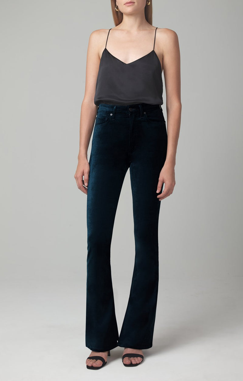 georgia high rise bootcut midnight green velour front