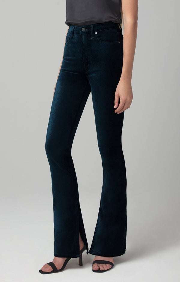 georgia high rise bootcut midnight green velour back