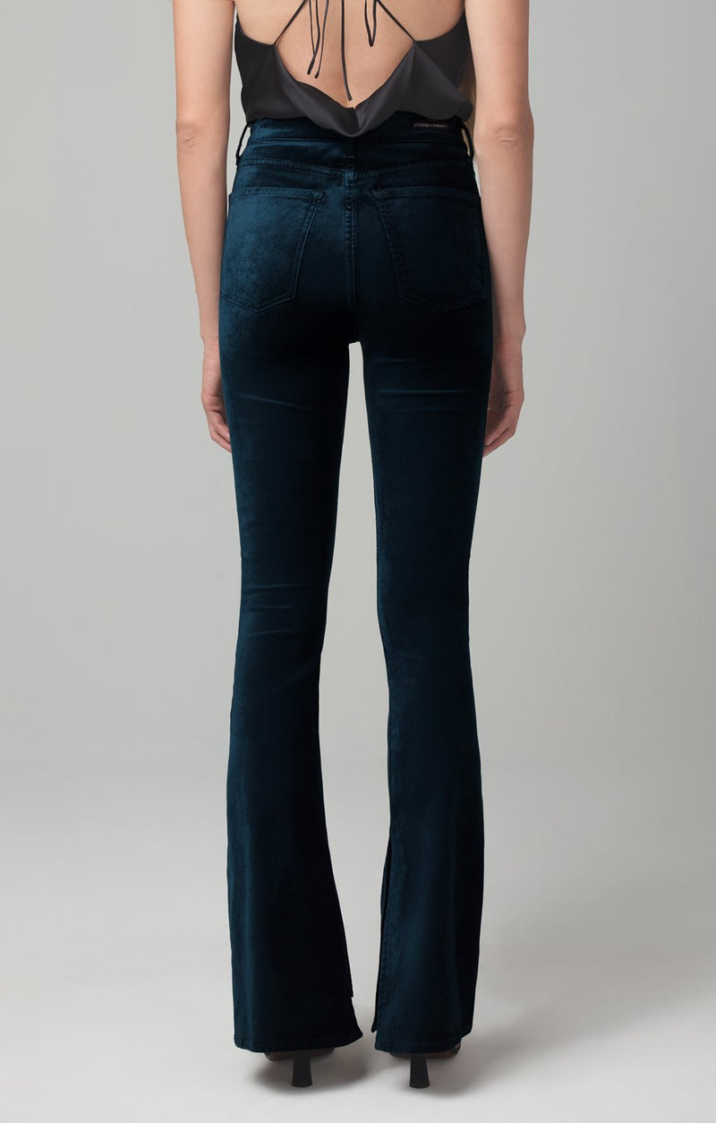 georgia high rise bootcut midnight green velour side