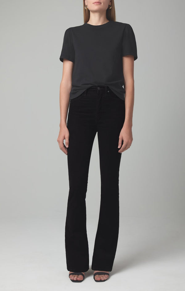 georgia high rise bootcut black corduroy front