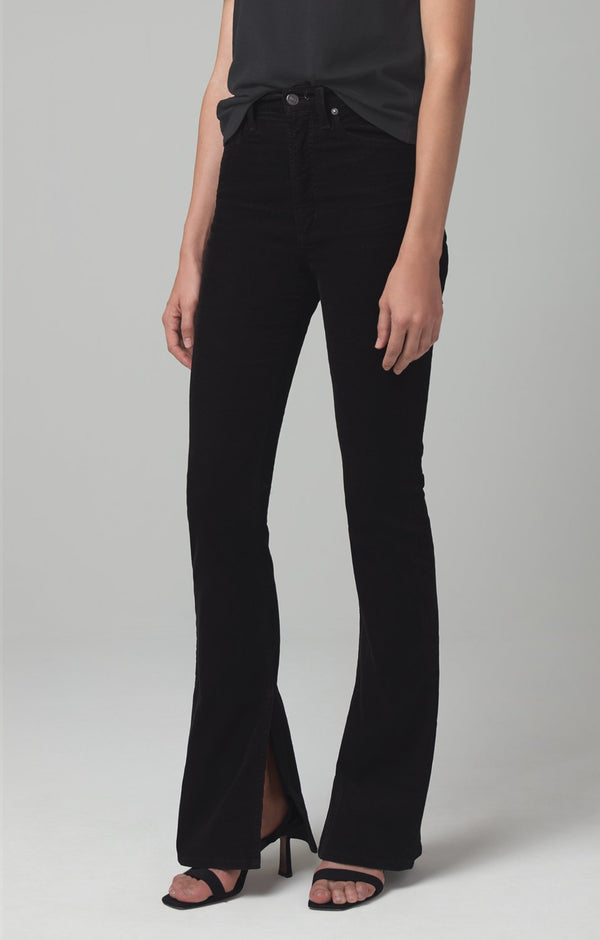 georgia high rise bootcut black corduroy back