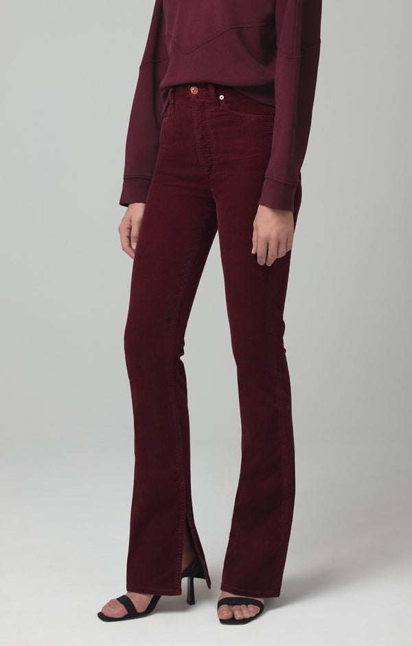 georgia high rise bootcut syrah corduroy back
