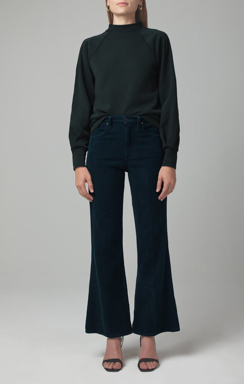 amelia vintage flare midnight green corduroy front