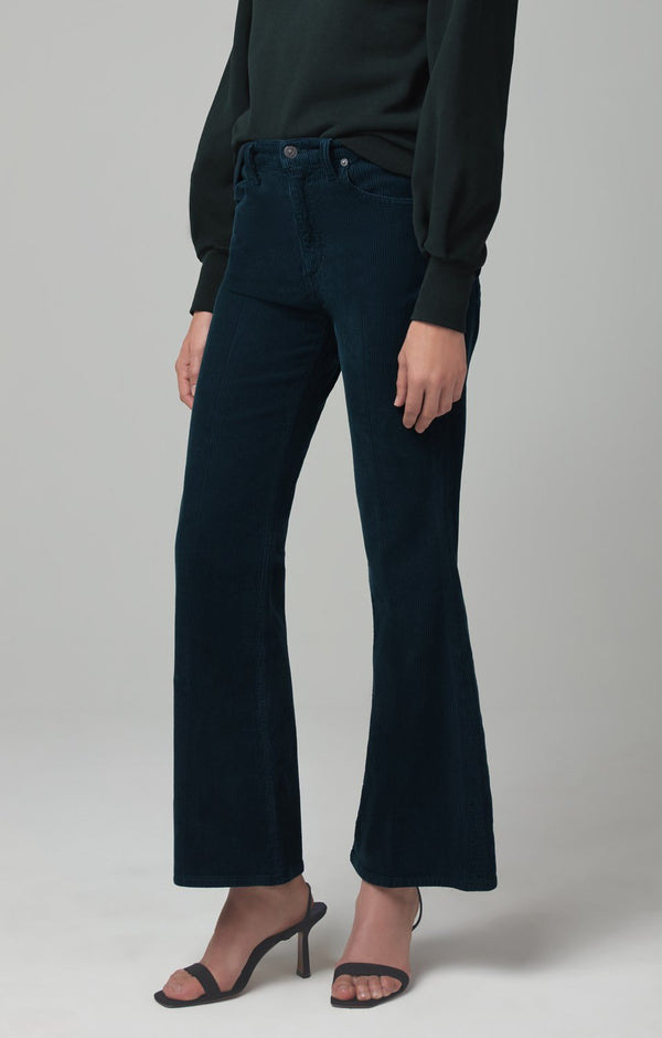 amelia vintage flare midnight green corduroy back