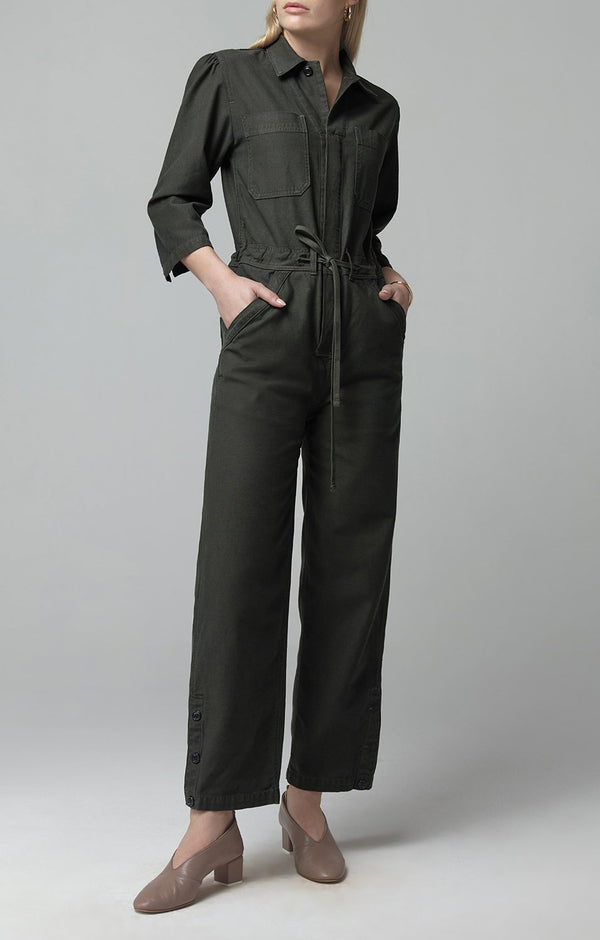 frida jumpsuit dark olive front