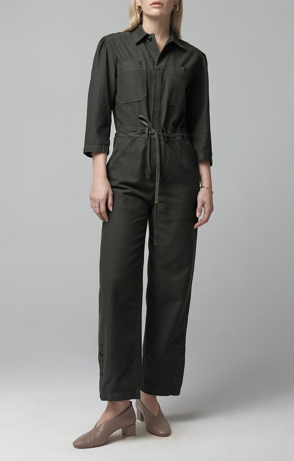 frida jumpsuit dark olive back