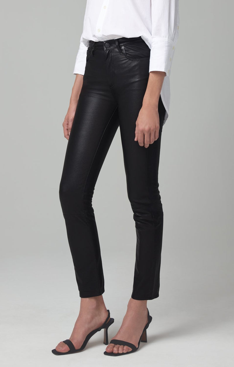 harlow ankle mid rise slim fit black leather back