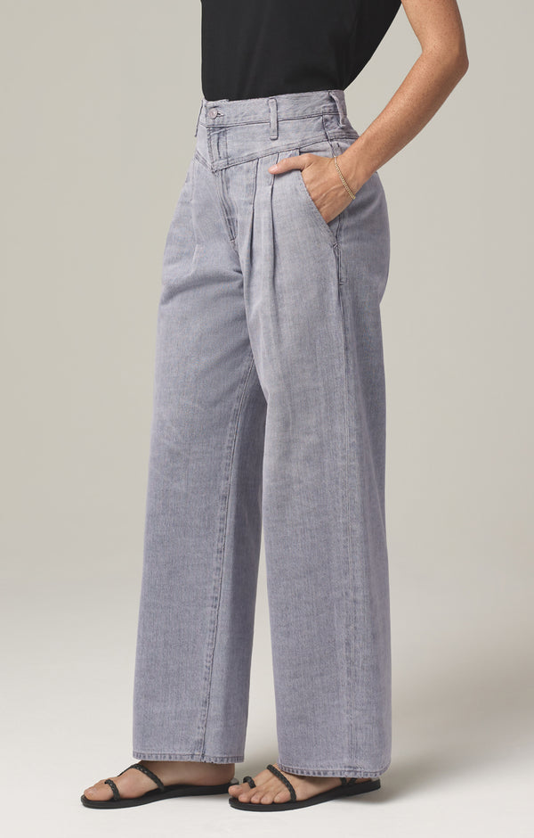 nancy pleat yoke trouser let it rain side