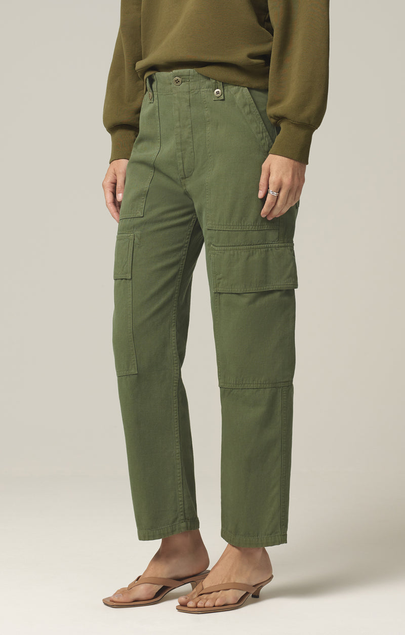 zadie high rise surplus pant aloe side