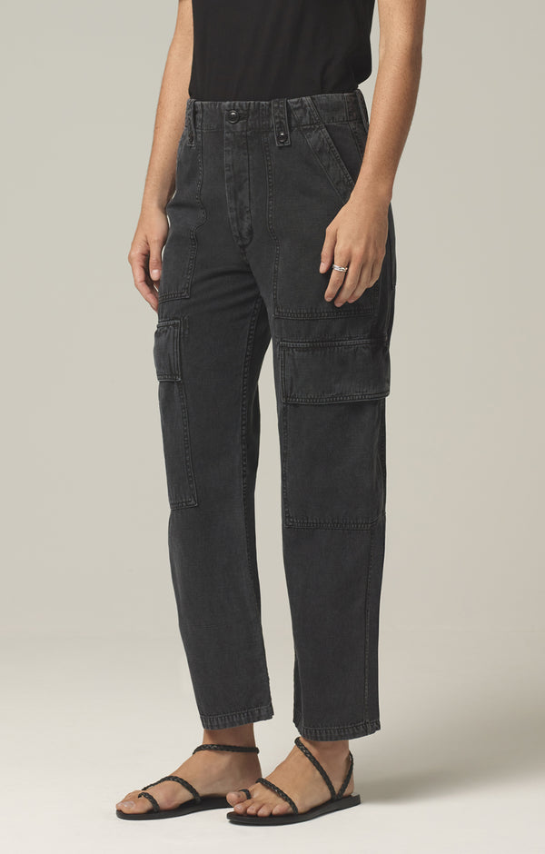 zadie high rise surplus pant washed black side