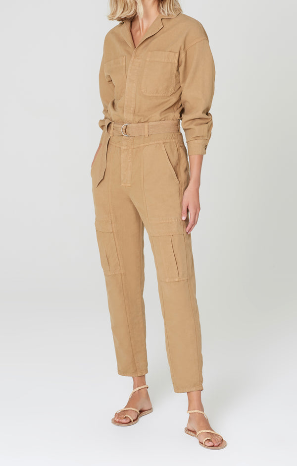 willa utility jumpsuit brown sugar front