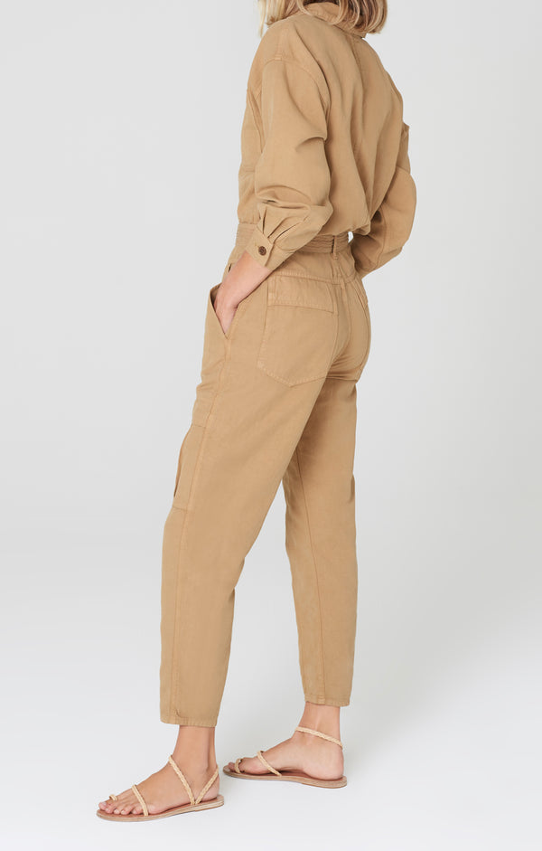 willa utility jumpsuit brown sugar side