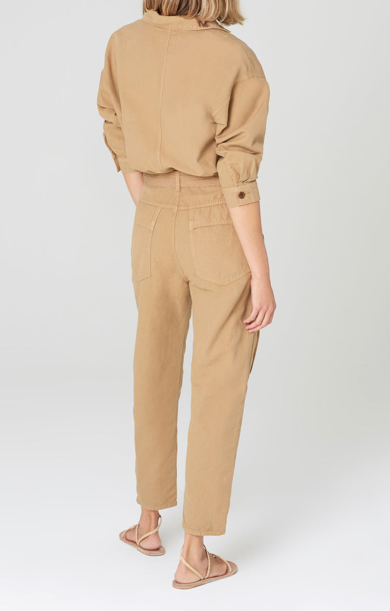 willa utility jumpsuit brown sugar back