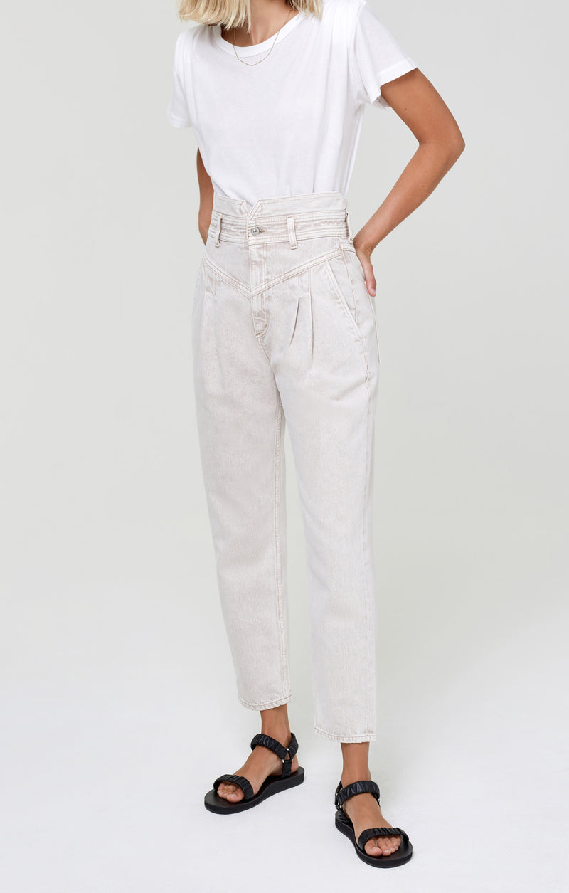Maeve Pleated Jean Raffia front