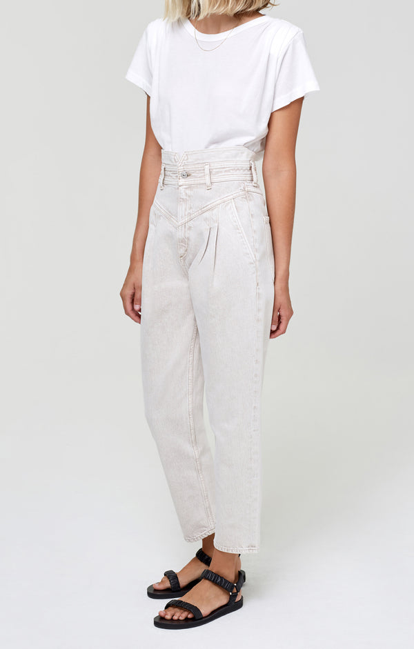 Maeve Pleated Jean Raffia side