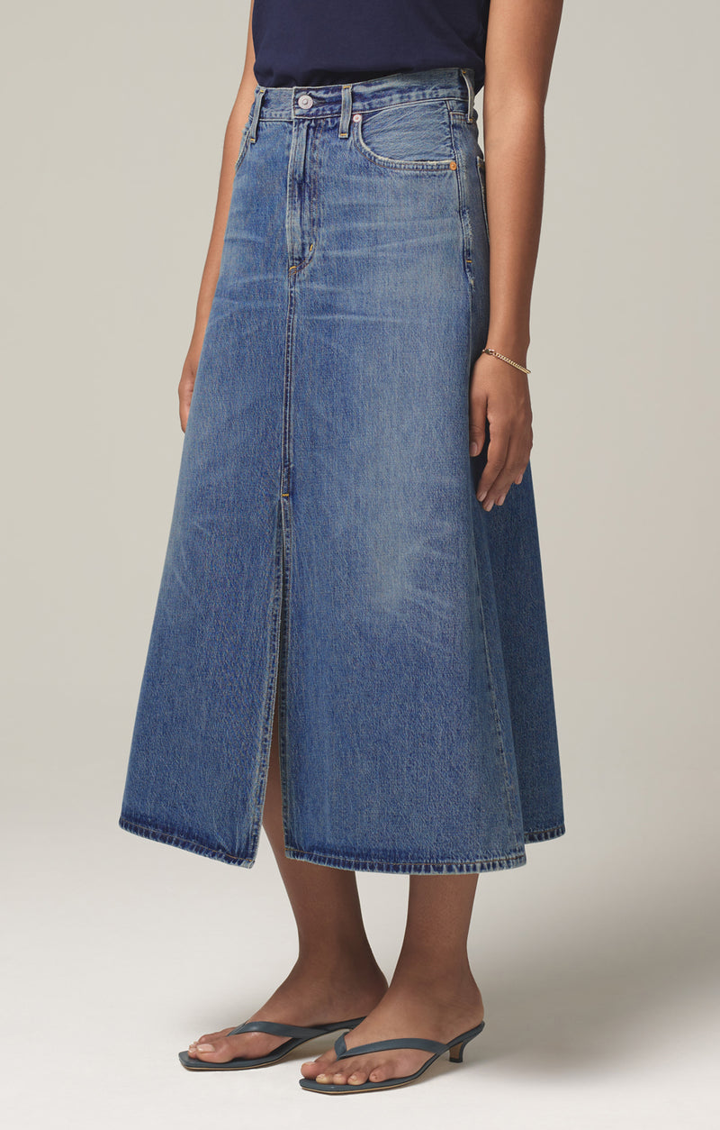 tessa vintage denim skirt gossip side