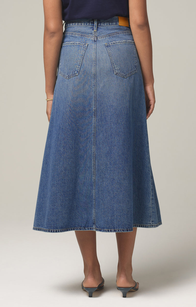 tessa vintage denim skirt gossip back