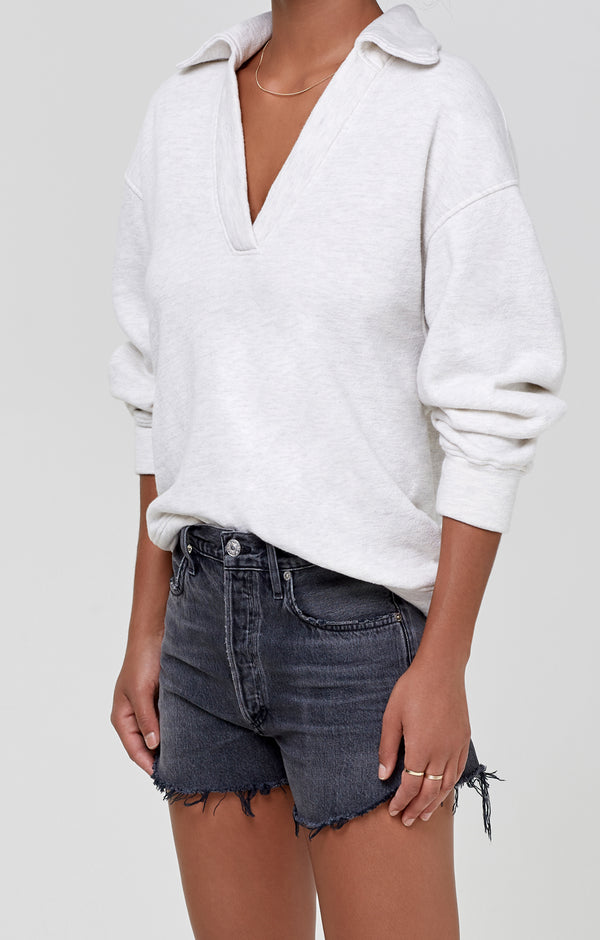 Rosalia Polo Collar Sweatshirt Oatmeal Heather