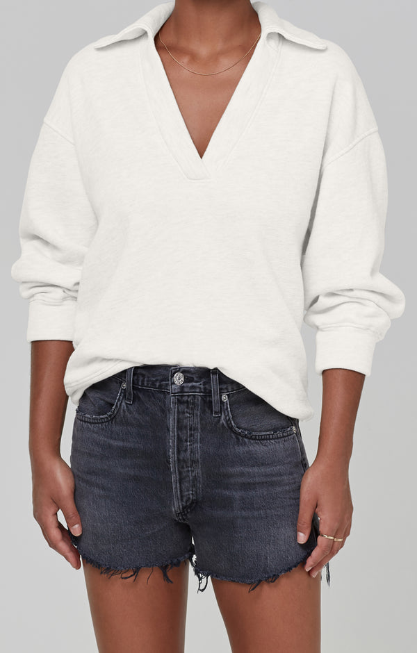 Rosalia Polo Collar Sweatshirt Lemon Drop front