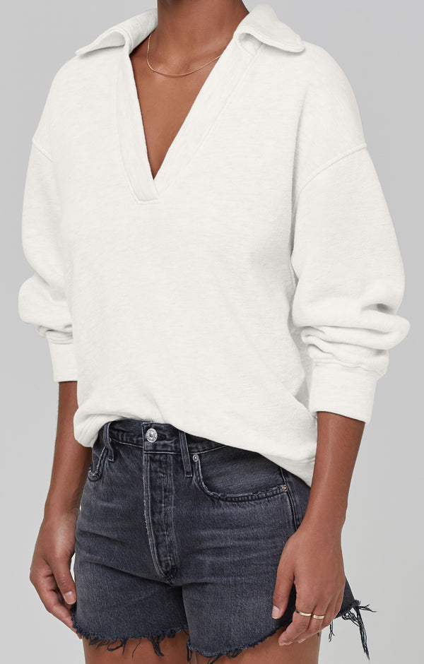 Rosalia Polo Collar Sweatshirt Lemon Drop