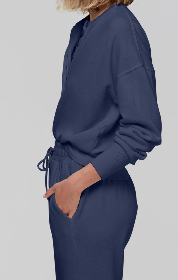 Cora Henley Sweatshirt Navy side