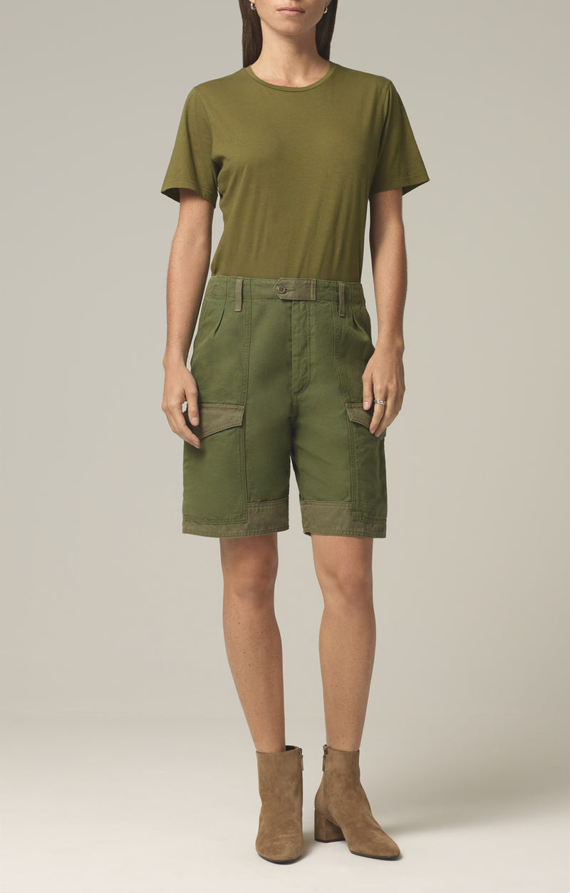 lily high waisted surplus short olive green aloe front