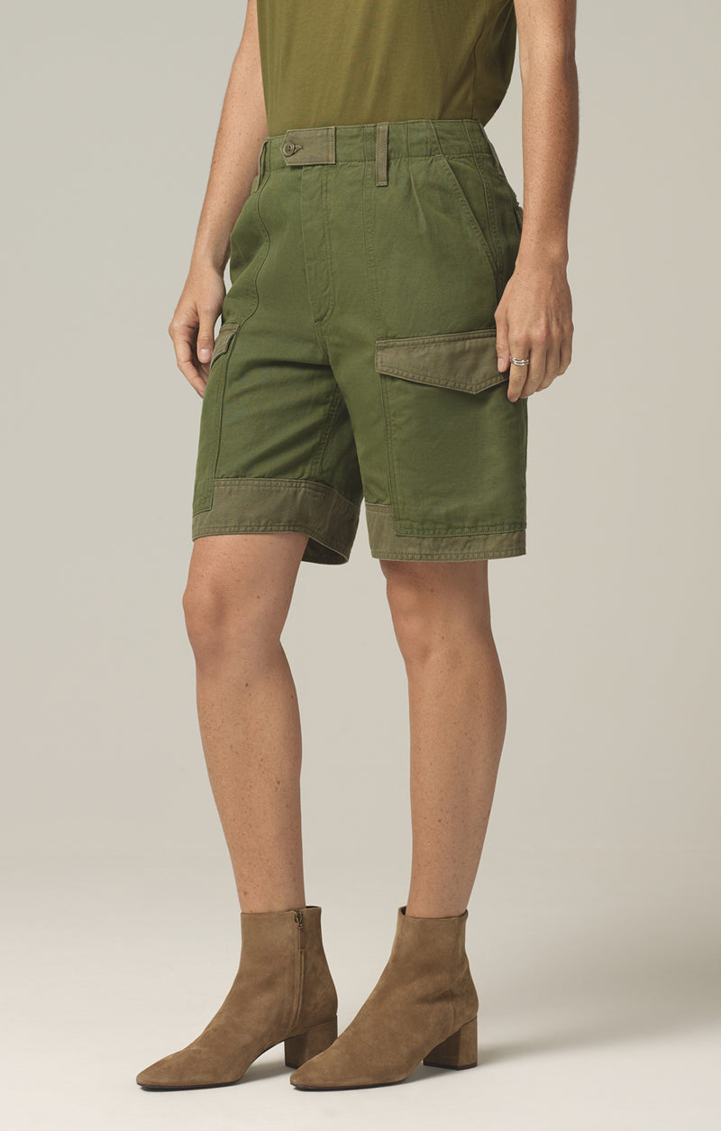 lily high waisted surplus short olive green aloe side