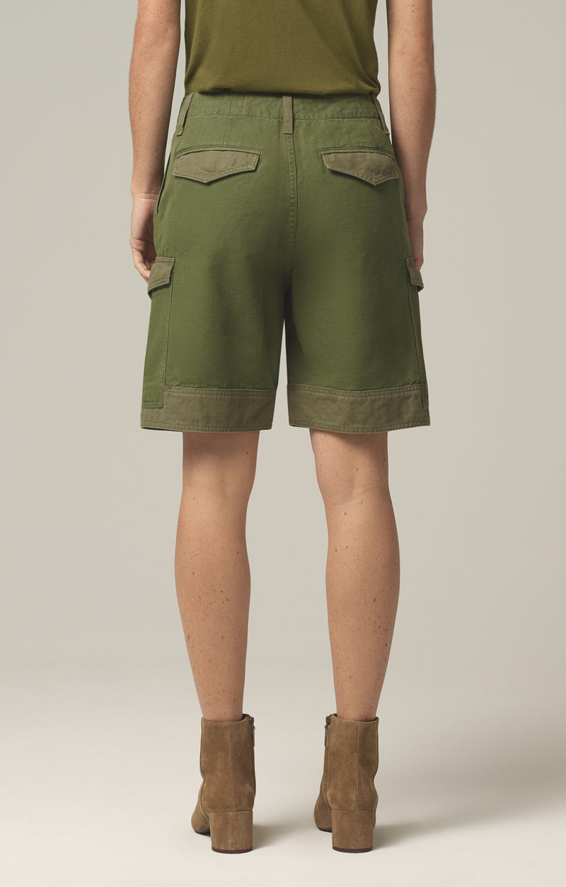 lily high waisted surplus short olive green aloe back