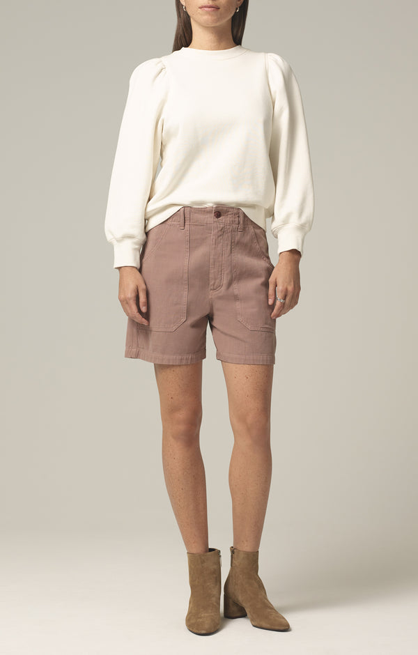 madeline relaxed patched pocket short redwood front