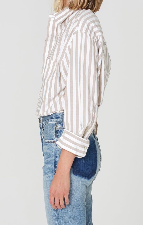 Kayla Shirt Havana Stripe side