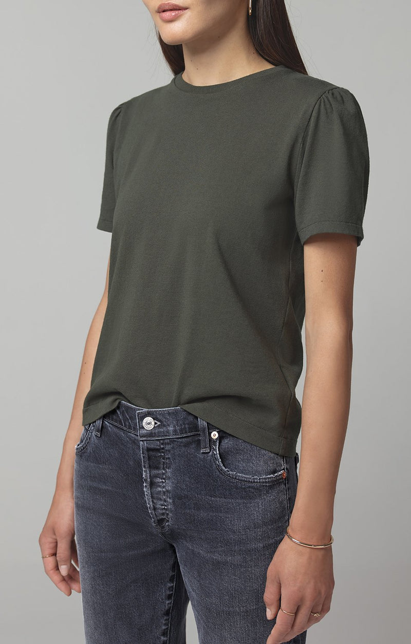 hannah puff sleeve dark moss detail
