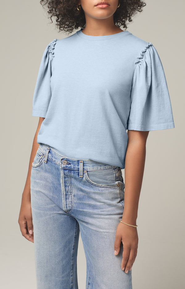 vera gathered shoulder top acqua front