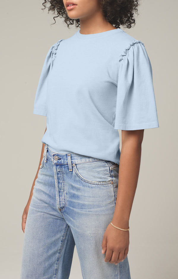 vera gathered shoulder top acqua side